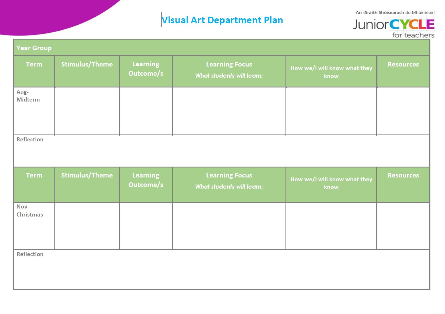 Visual Art Department Plan