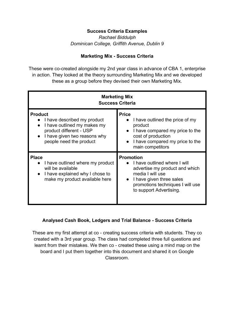 Success Criteria Examples - Webinar March 24th 2020