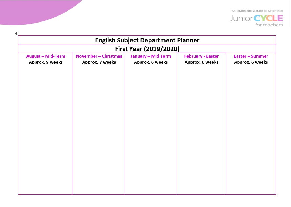 English Subject Department Planner for 1st Year (2019-2020)