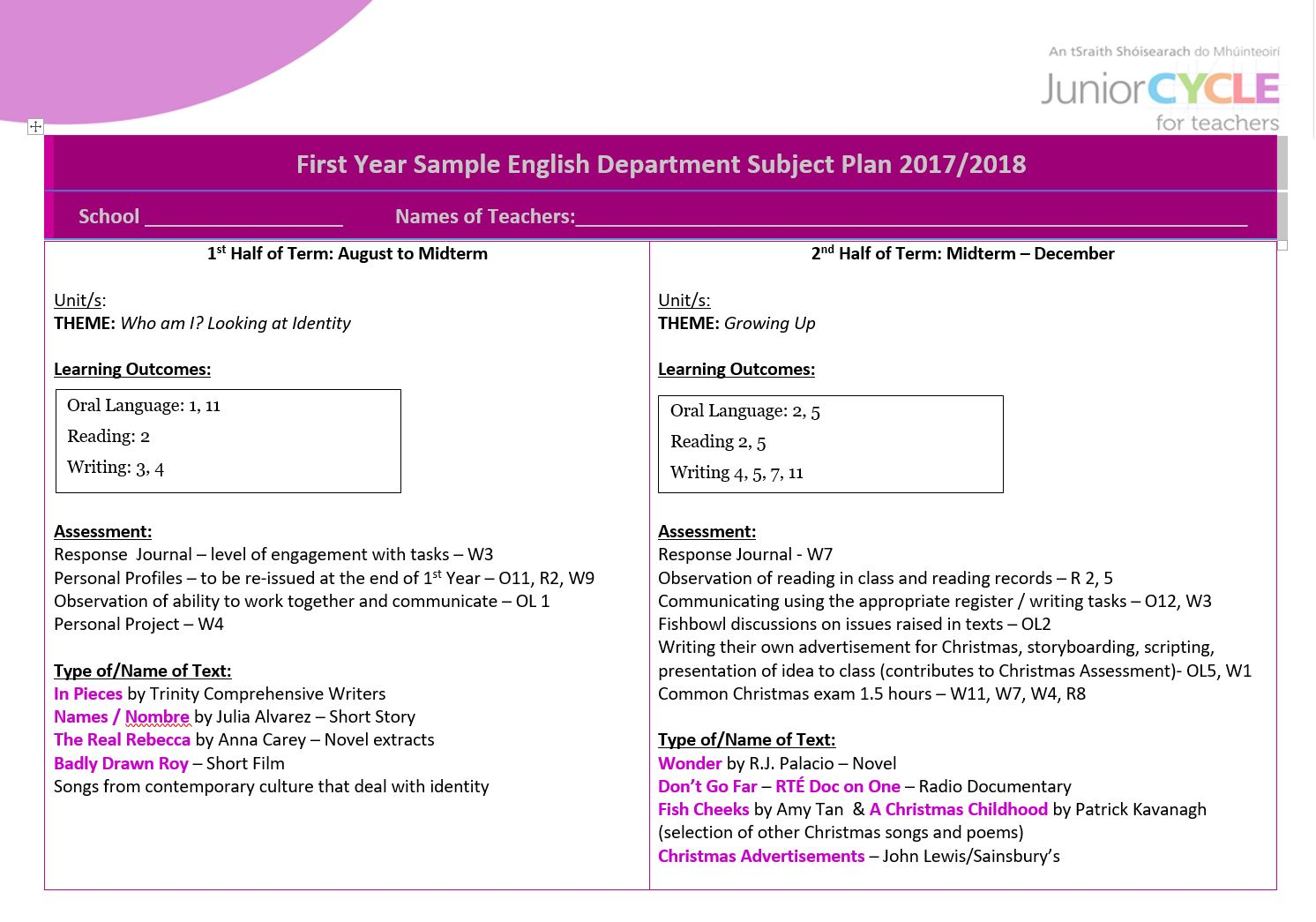 First Year Sample English Department Subject Plan 2016/2017
