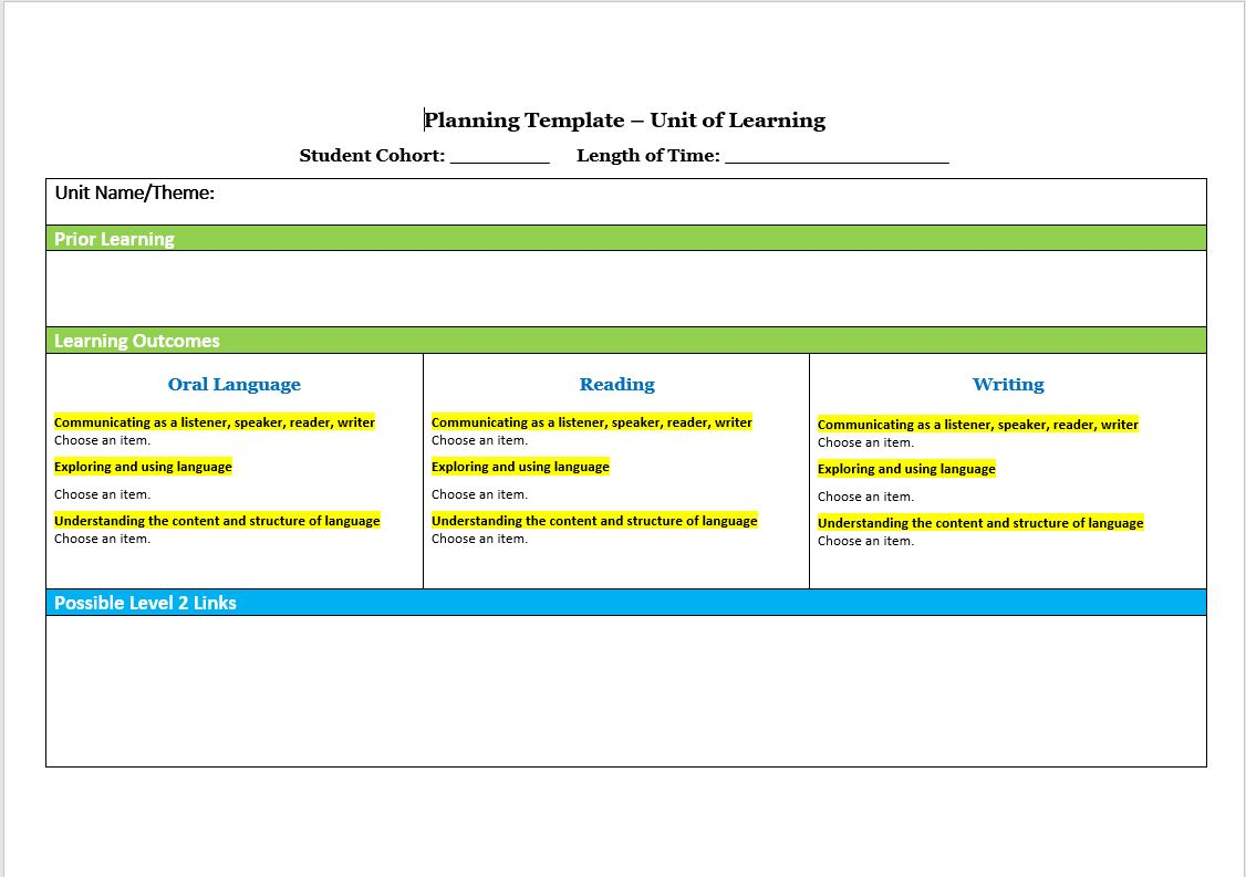 Interactive Planning Template Landscape