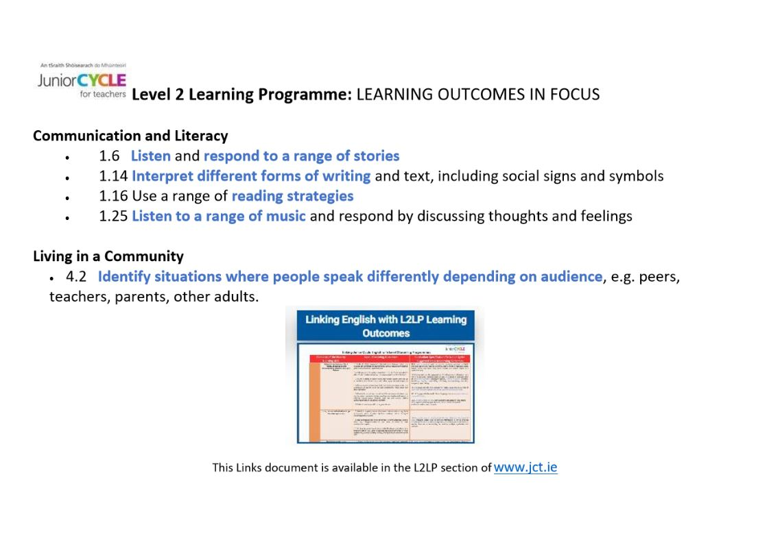 Linking with L2LP Learning Outcomes