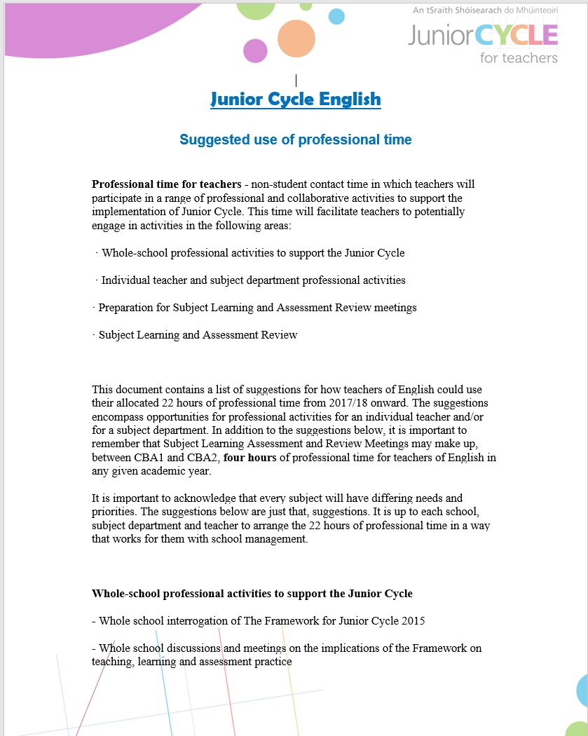 English Second Third Year Planning Junior Cycle For
