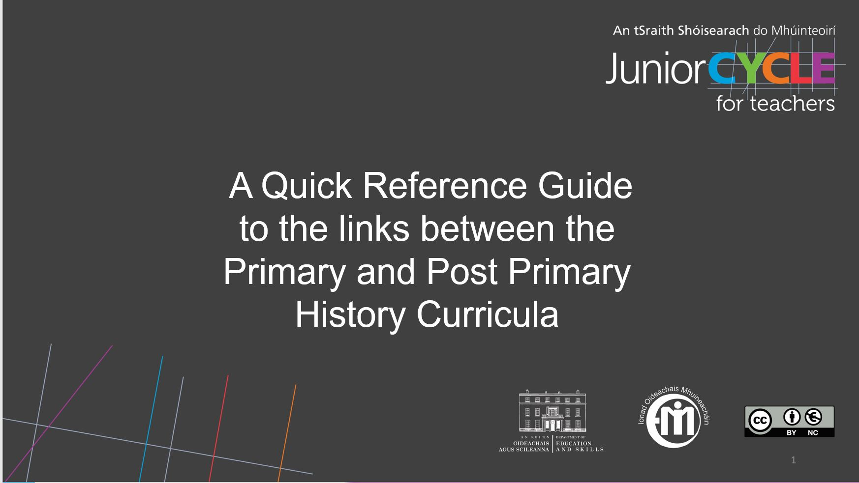 A Quick Reference Guide to the  Links Between the Primary and Post Primary History Curricula