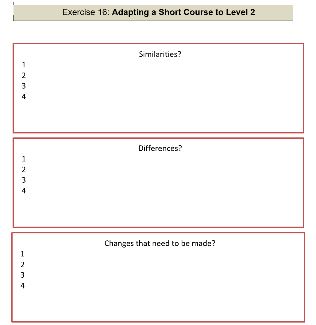 Adapting a Short Course to Level 2