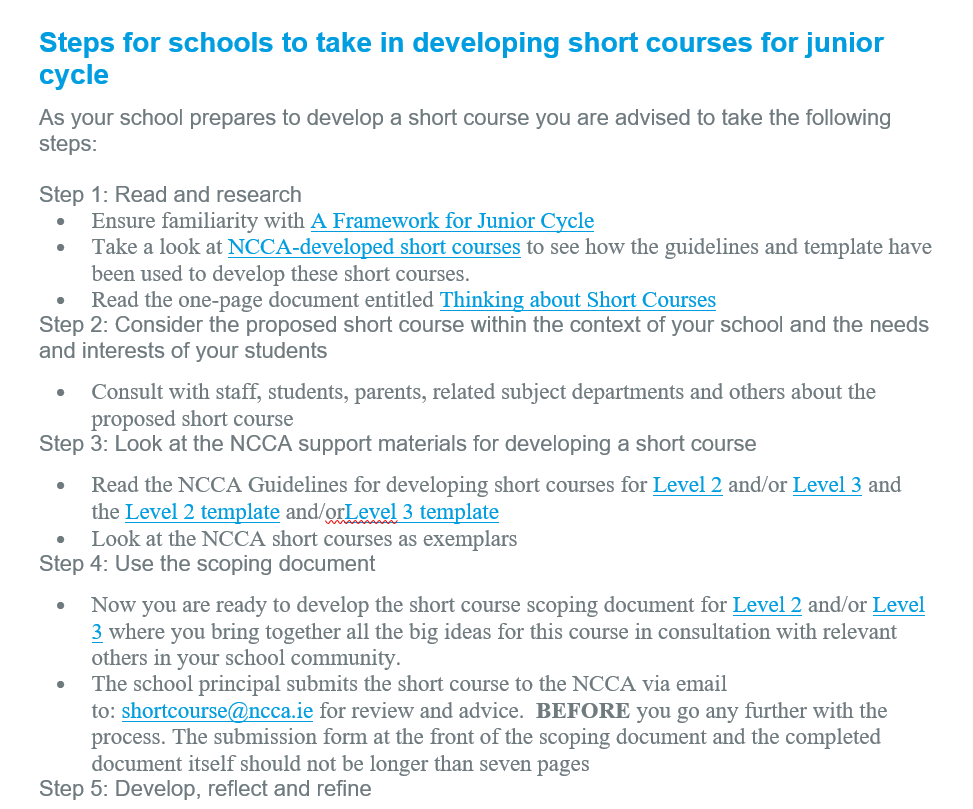 Steps for School Developing Short Course