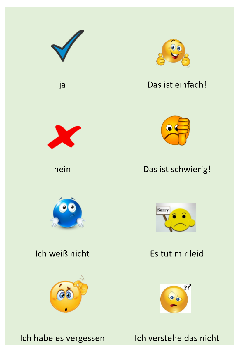 Classroom language Flashcards German