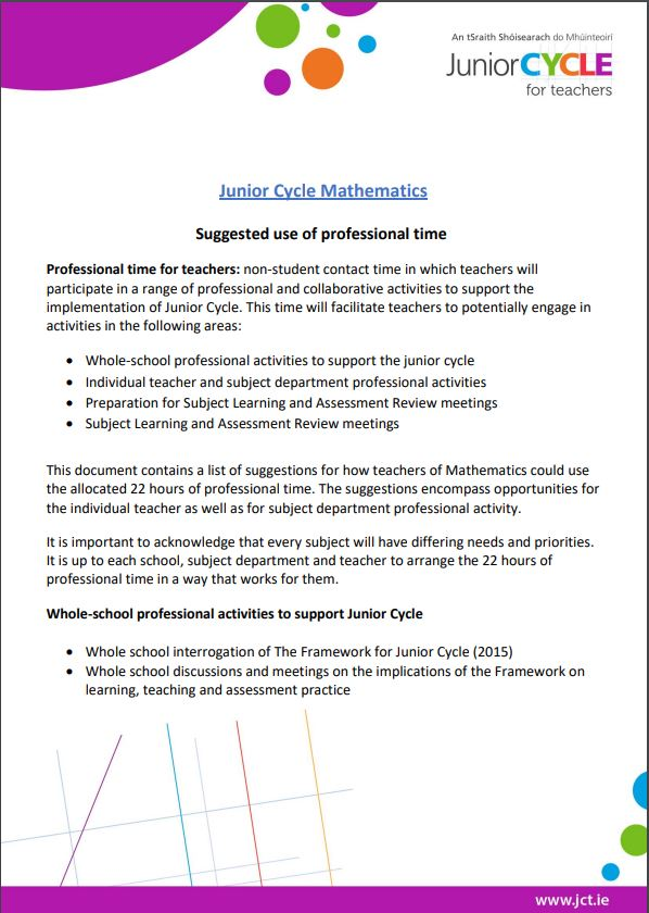 Professional Time in Mathematics Leaflet