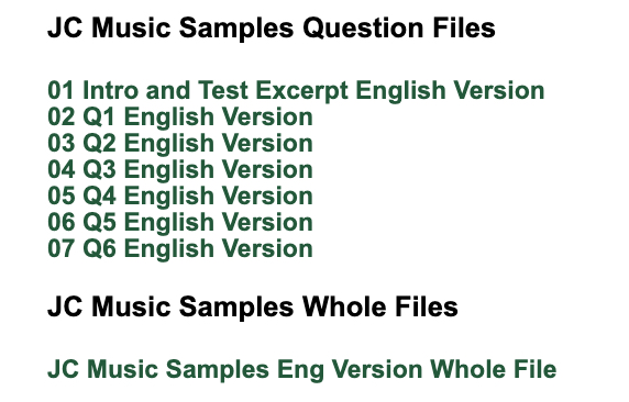 Audio files for Music Sample Paper