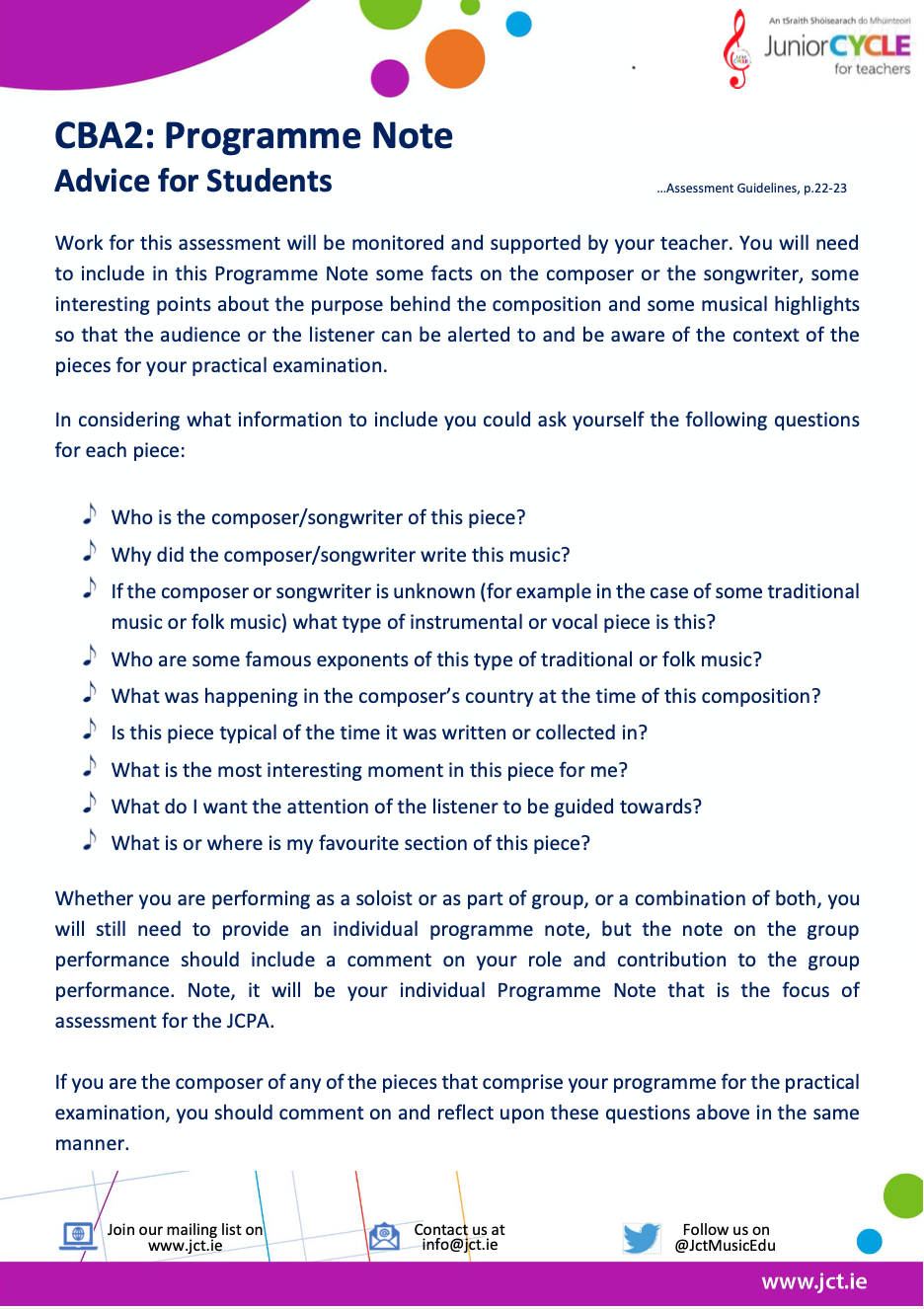 CBA2: Programme Note - Advice for Students