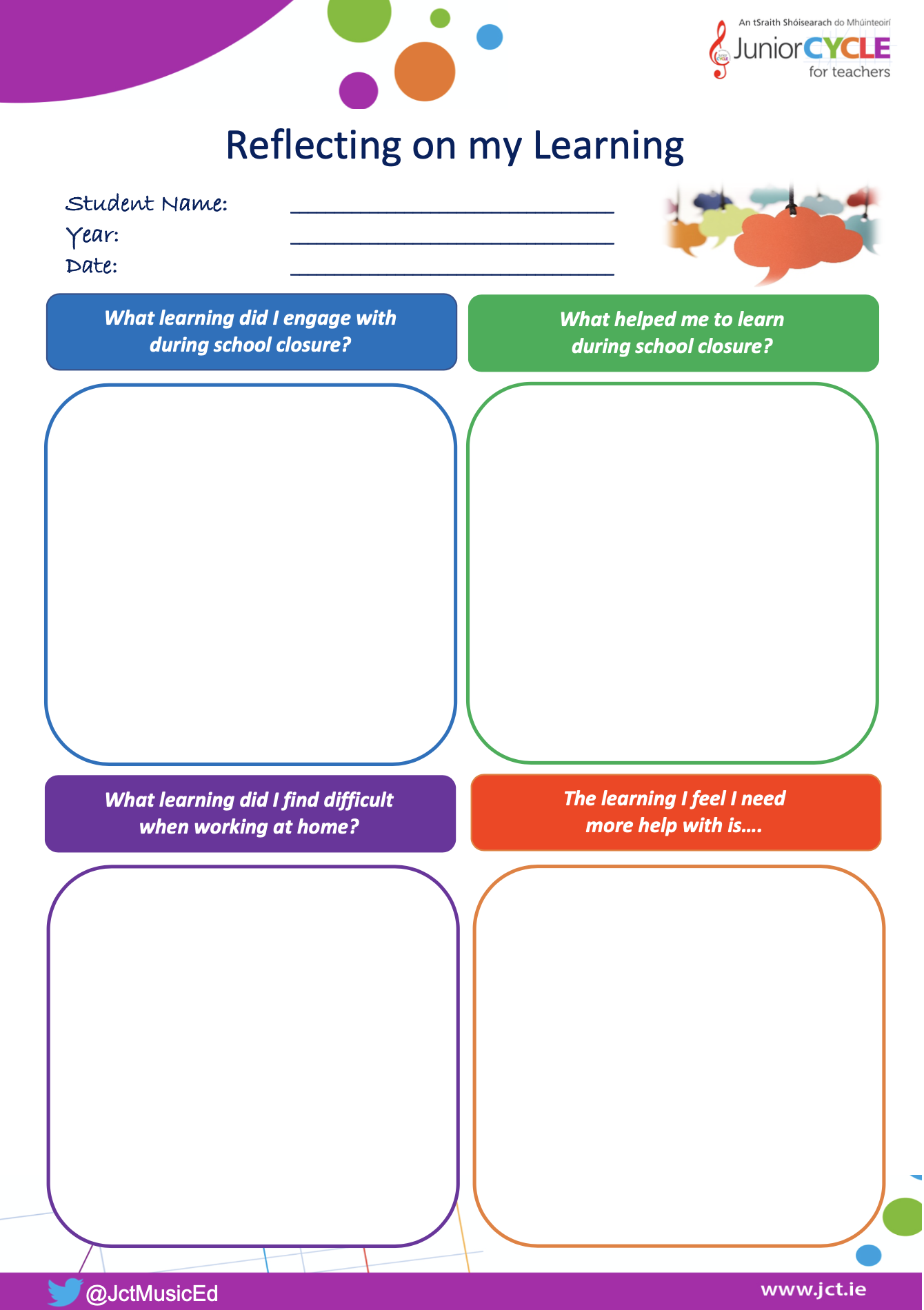 Student Reflection Template