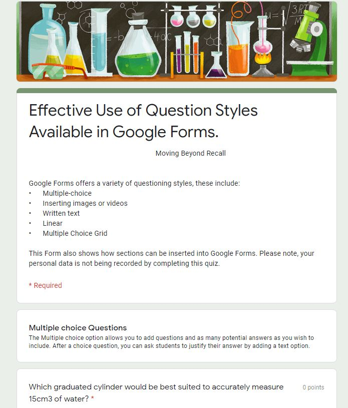 Sample Questions to Illustrate Effective Use of Question Styles Using Google Forms