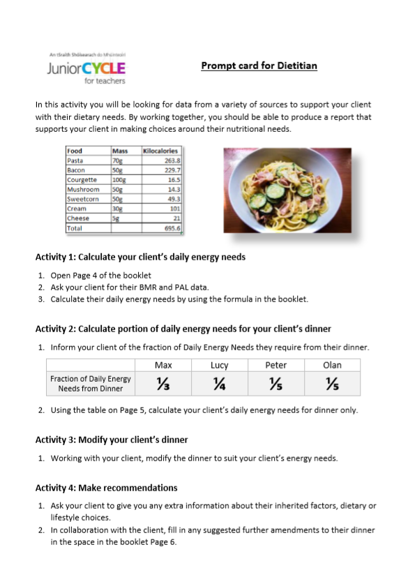 Prompt Card for Dietitian