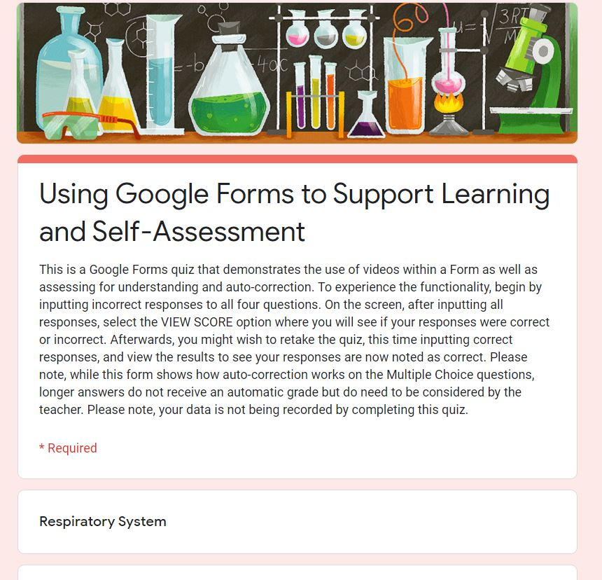 Sample Questions which Support Learning and Self Assessment Using Google Forms