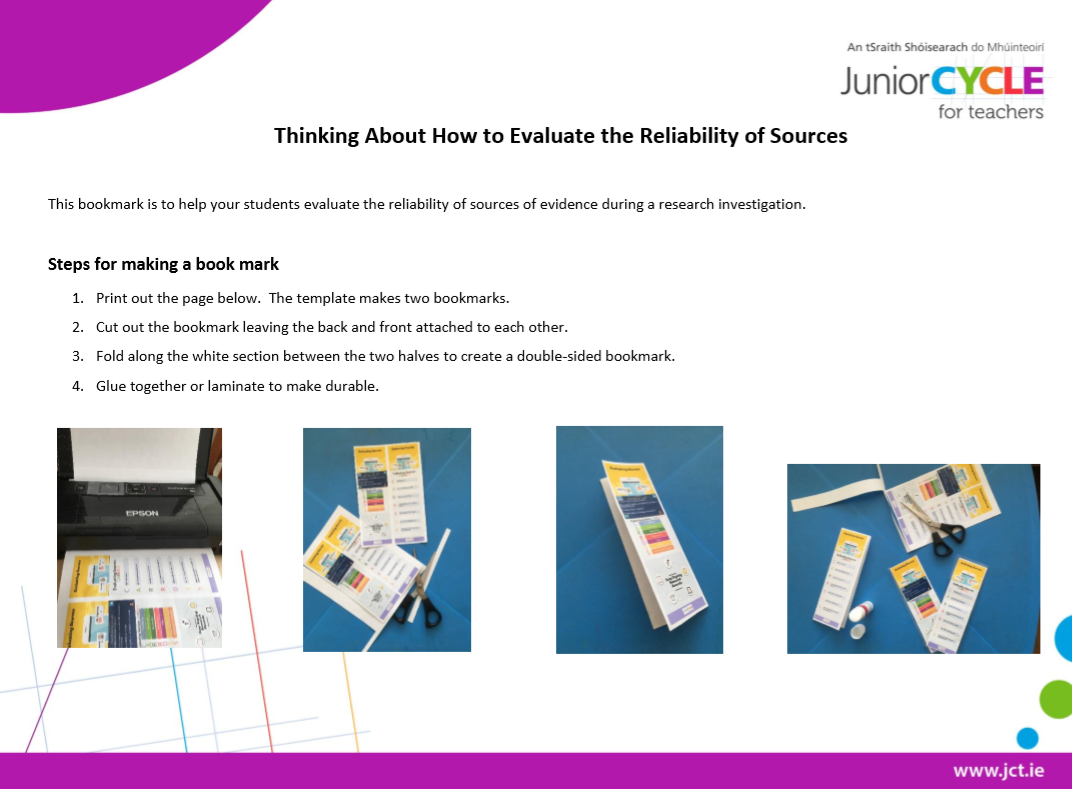 CARRDSS Bookmark - Evaluating the Reliability of Sources