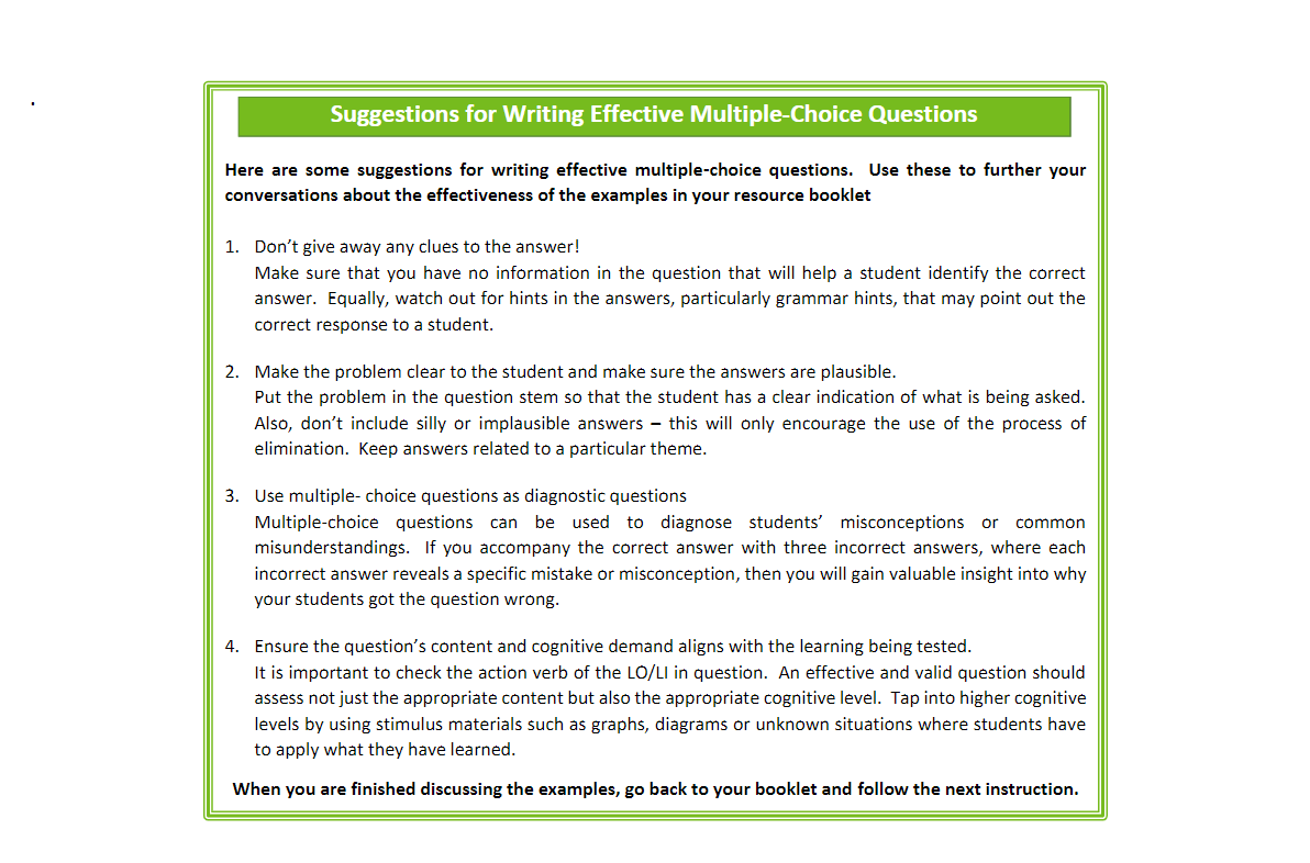 Writing Effective Questions