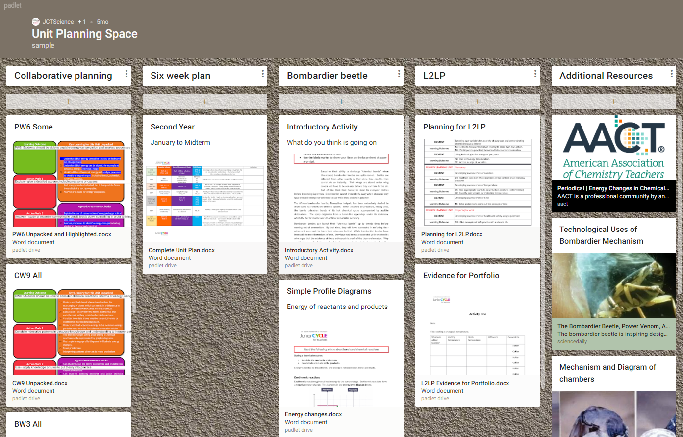 Unit of Learning Padlet