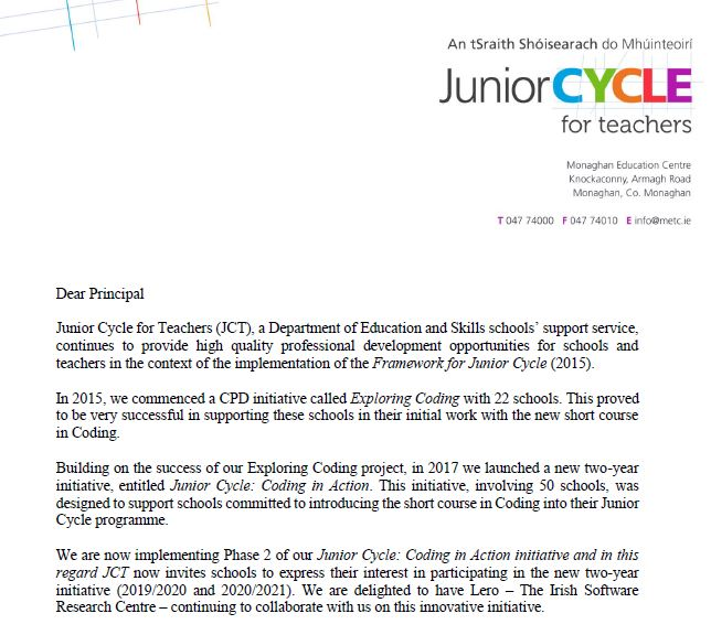 JCCiA Phase 2 Information Letter to Schools