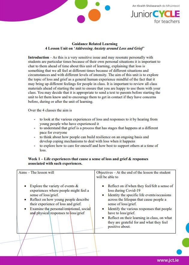 Week 1 Student Worksheet - Experiences of Loss and Responses to it