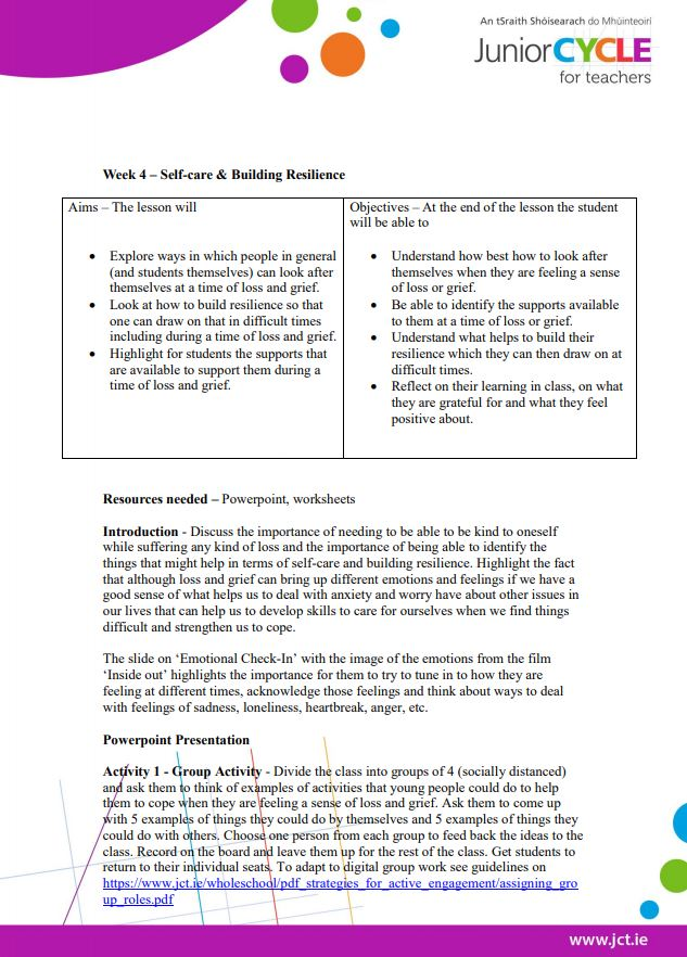 Week 4  Lesson Plan - Self-Care and Building Resilience
